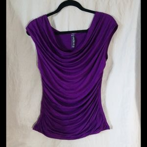 Colori purple blouse with ruching size L 🇨🇦
